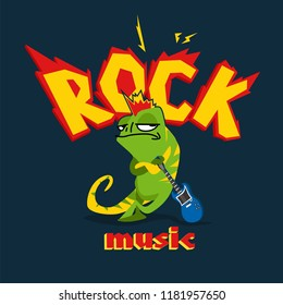 Cartoon image in rock style with chameleon and electronic guitar.