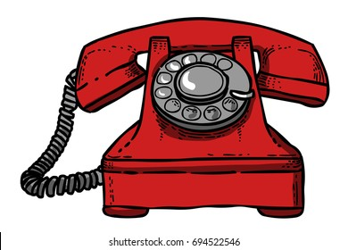 Cartoon image of a telephone. An artistic freehand picture.