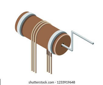 Cartoon image of wheel axle with a rope. Colored vector illustration of the mechanism for lifting water. Stock vector illustration isometric style