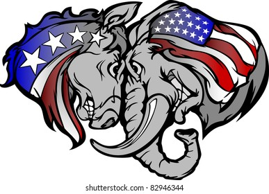 Cartoon Images of  Political Mascots Donkey and Elephant