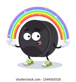 cartoon imagination black rubber hockey puck character mascot smiling on white background