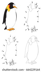 Cartoon Imperial Penguin. Coloring book and dot to dot educational game for kids