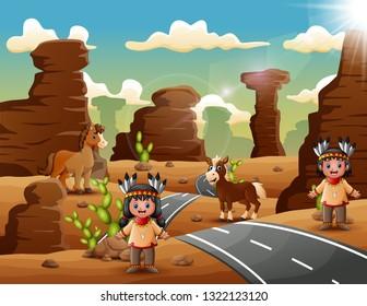 Cartoon indian couple in the desert