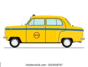 Cartoon Indian taxicab. Side view. Flat vector.