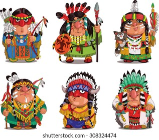 Cartoon Indians. Funny, travesty cartoon. Characters. Indians set. Isolated objects.