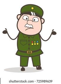 Cartoon Innocent Sergeant Showing Empty Hands Vector Illustration