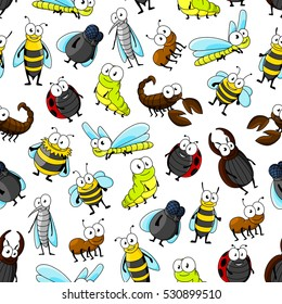 Cartoon insects and bugs seamless pattern on white background with bee, ladybug, fly, dragonfly, caterpillar, beetle, mosquito, wasp, bumblebee, ant and scorpion characters.