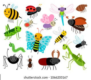 Cartoon insects. Vector cute insect collection, fly and ladybug, mantis and wasp, bug and beetle isolated on white background