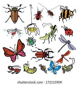 Cartoon insects vector set