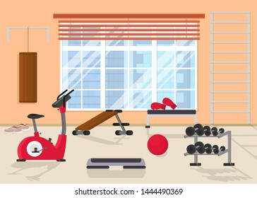 Cartoon Interior Inside Home Gym with Window Include of Dumbbell, Barbell, Sportswear, Treadmill and Stepper. Vector illustration