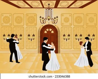 cartoon interior - vector illustration of a ballroom along with waltz dancers.
