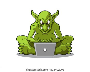 Cartoon Internet Troll Sitting With Laptop