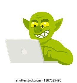 Cartoon internet troll typing comment on laptop. Funny illustration of trolling or cyber bullying.