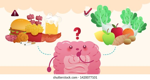 cartoon intestine choose vegetable and junk food on yellow background