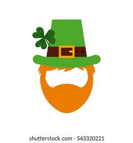 icône de dessin animé irlandais leprechaun homme sur fond blanc. Concept de Saint Patrick. design coloré. illustration vectorielle