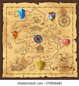Cartoon island map template with medieval colorful weapons and shields for game level design vector illustration