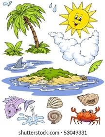 Cartoon Island Water Life-Clip-Art Color