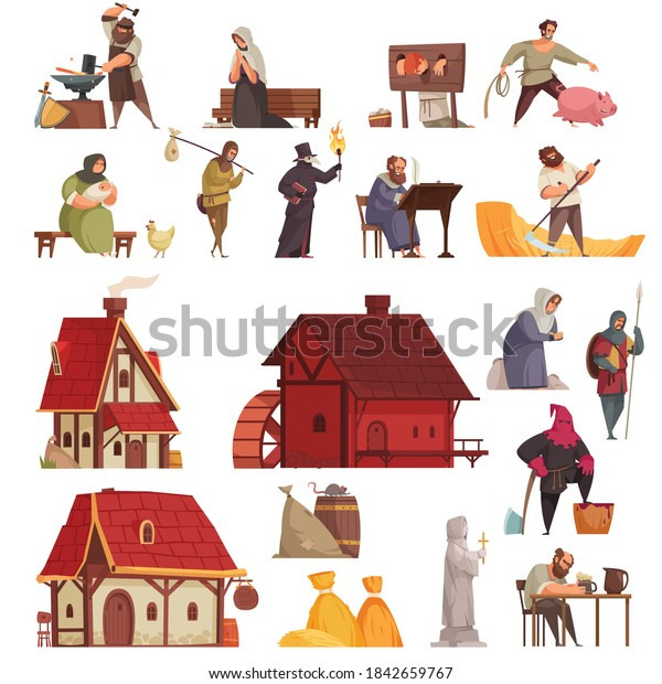 Cartoon and isolated medieval icon set with houses taverns villagers blacksmith executioner vector illustration