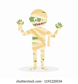 Cartoon isolated scary mummy zombie character vector illustration for Halloween