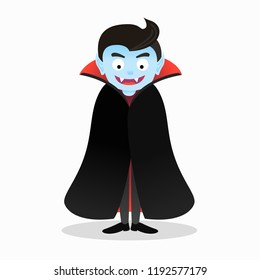 Cartoon isolated scary vampire character vector illustration for Halloween
