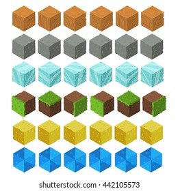 Cartoon Isometric game brick cubes set. Wood, stone, ice, grass, sand, water elements. The vector illustration for ui, web games, tablets, wallpapers, and patterns.