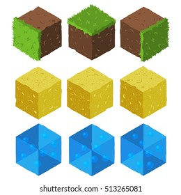 Cartoon Isometric game brick cubes set. Grass, sand, water elements. The vector illustration for ui, web games, tablets, wallpapers, and patterns.