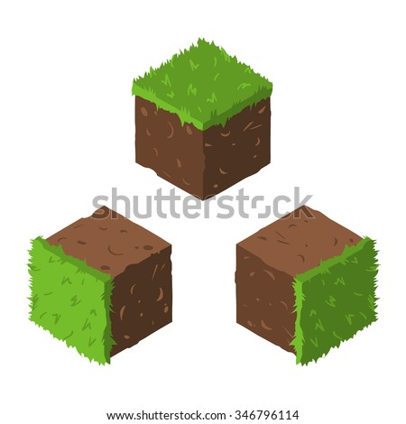 Cartoon Isometric grass and rock stone game brick cube. The vector illustration for ui, web games, tablets, wallpapers, and patterns.