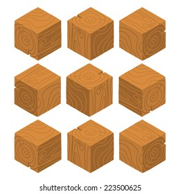 Cartoon Isometric wood game brick cubes set. The vector illustration for ui, web games, tablets, wallpapers, and patterns.