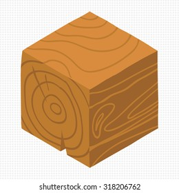 Cartoon Isometric wood game brick cube. The vector illustration for ui, web games, tablets, wallpapers, and patterns.