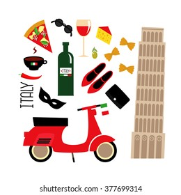 Cartoon Italian Culture Symbols Pisa Tower Retro Scooter Red Wine Coffee