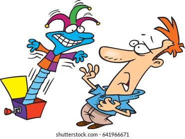 cartoon jack in the box frightening a man