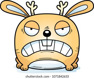 A cartoon jackalope with an angry expression.