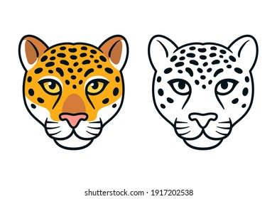Cartoon jaguar or leopard head. Wild big cat face, color and black and white, mascot or logo design. Isolated vector illustration.