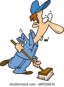 cartoon janitor whistling while he works