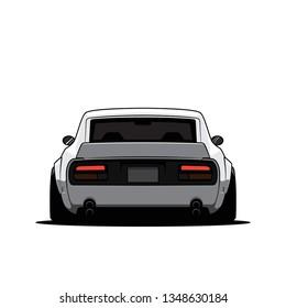 Cartoon japan tuned car isolated. Back view. Vector illustration
