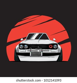 Cartoon japan tuned old car on red sun background. Front view. Vector illustration