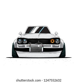 Cartoon japan tuned old car isolated. Front view. Vector illustration