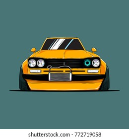 Cartoon japan tuned old car. Front view. Vector illustration
