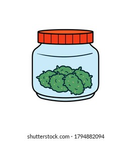 Cartoon Jar Weed Illustration