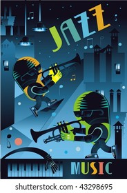 cartoon jazz players on the roof music background vector illustration