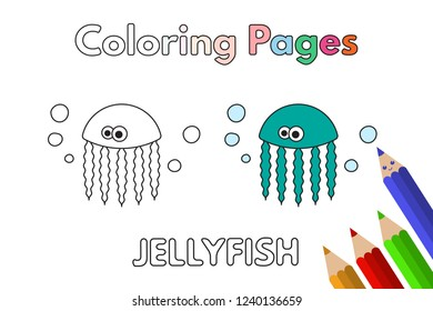 Cartoon jellyfish illustration. Vector coloring book pages for children