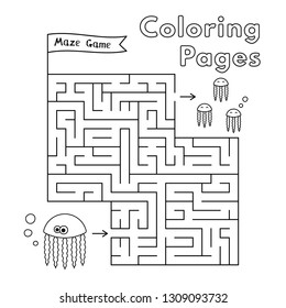 Cartoon jellyfish maze game. Vector coloring book pages for children
