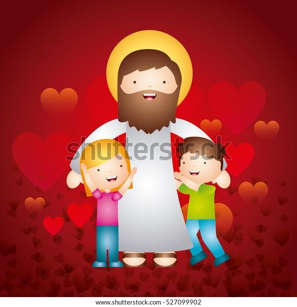 Cartoon Jesus Man Happy Kids Over Stock Vector Royalty Free 527099902