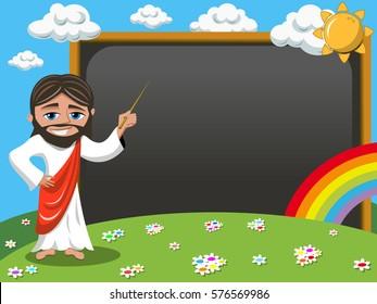 Cartoon jesus teaching holding stick in front of blank blackboard or chalkboard in the meadow