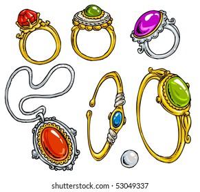 Cartoon Jewelry-Clip-Art Color