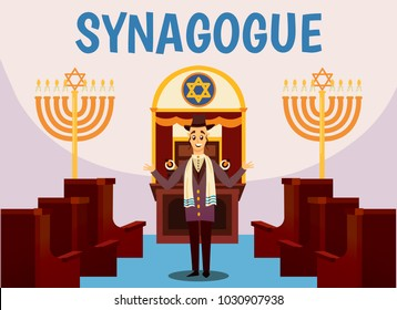 Cartoon jews characters composition with flat images of synagogue temple indoor interior with rabbi human character vector illustration
