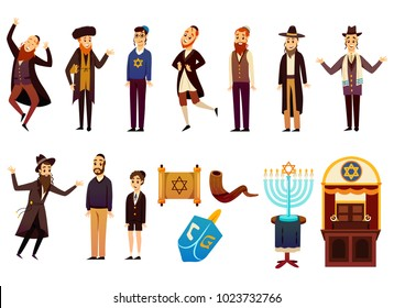 Cartoon jews characters icons collection with isolated images of young and adult israelite people with jewish symbols vector illustration