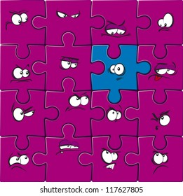 Cartoon jigsaw with faces looking at odd piece