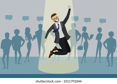 Cartoon job candidate won and jumps in spotlight, human resource recruitment concept,silhouettes of people on the background,flat vector illustration