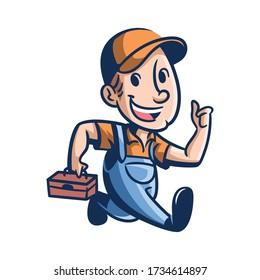 Cartoon Joe's Repair Mascot Logo